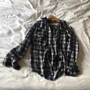 Oversized boyfriend blue checked flannel (size M)